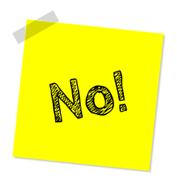 "Word ""no"" written on a sticky note"